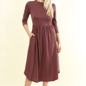Wine Striped Midi Dress